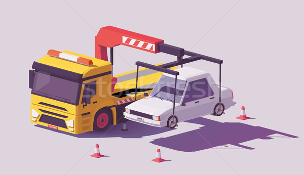 Vector low poly tow truck Stock photo © tele52