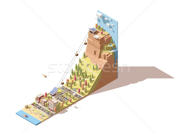 Stock photo: Vector isometric cableway from the beach to the hill infographic