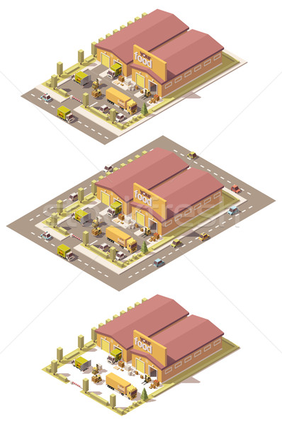 Vetor isométrica baixo produzir armazém edifício Foto stock © tele52