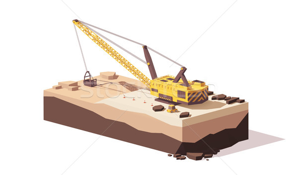 Vector low poly dragline excavator Stock photo © tele52