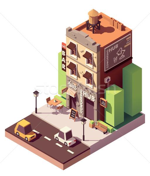Stockfoto: Vector · isometrische · gebouw · ruimte · klein · sap
