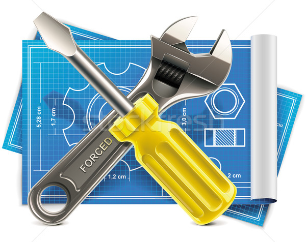 Vector wrench and screwdriver on blueprint XXL icon Stock photo © tele52