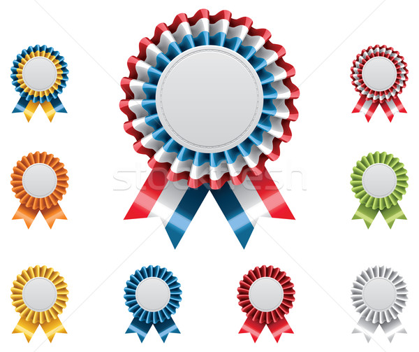 Photo stock: Vecteur · attribution · badges · détaillée · satin