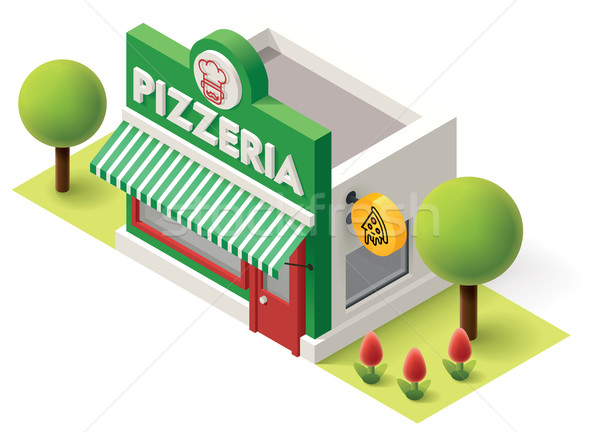 Stok fotoğraf: Vektör · izometrik · pizzacı · Bina · ikon · ofis