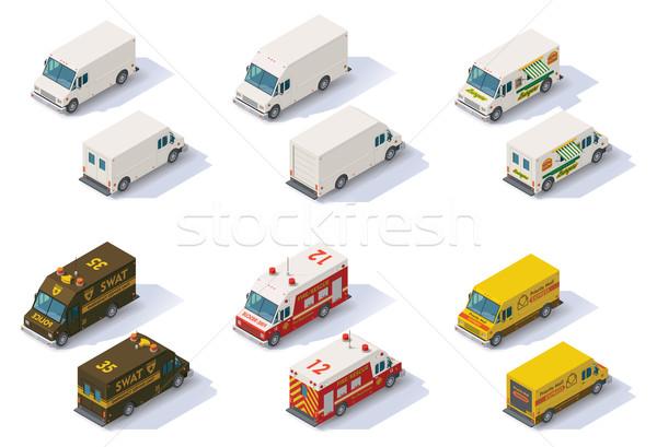 Vector isometric step vans set Stock photo © tele52
