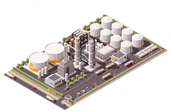Vector isometric oil refinery  Stock photo © tele52