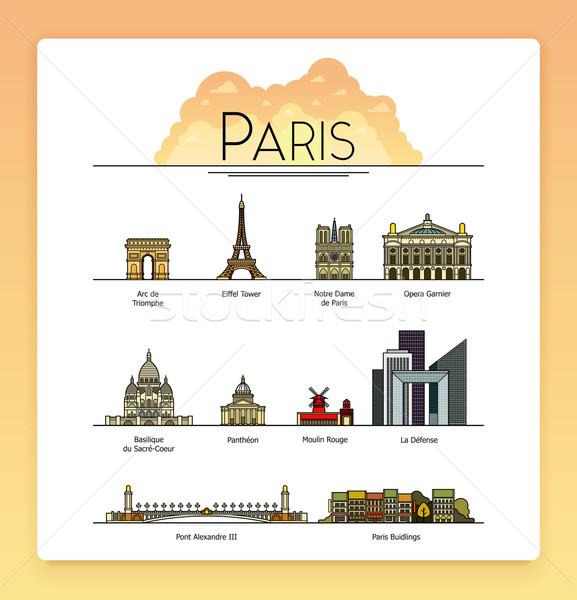 вектора линия искусства Париж Франция путешествия Сток-фото © tele52