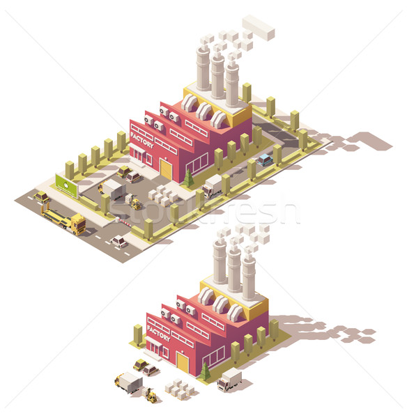 Vector isometric low poly factory Stock photo © tele52