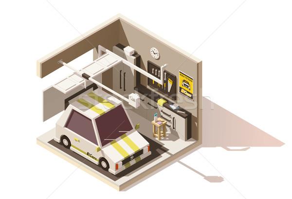 Vektor izometrikus alacsony garázs ikon zsakett Stock fotó © tele52