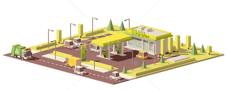 Vector low poly gas station Stock photo © tele52