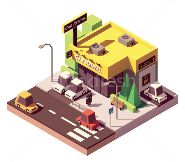Vector isometric car rental office Stock photo © tele52