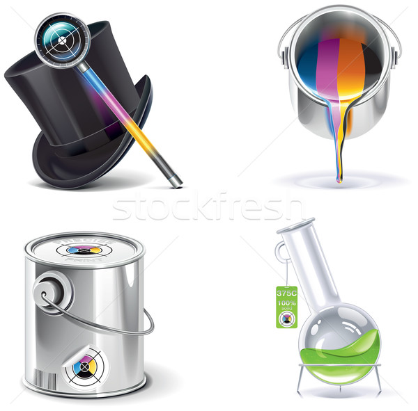 Vector print shop icon set. Part 2 Stock photo © tele52