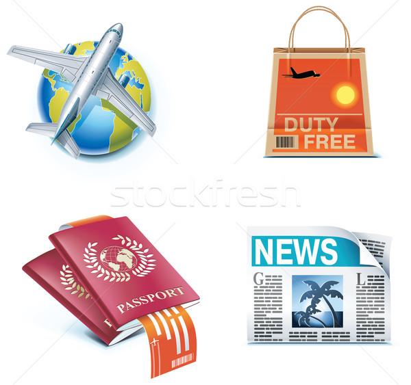Foto stock: Viaje · vacaciones · iconos · establecer · objetos · servicios