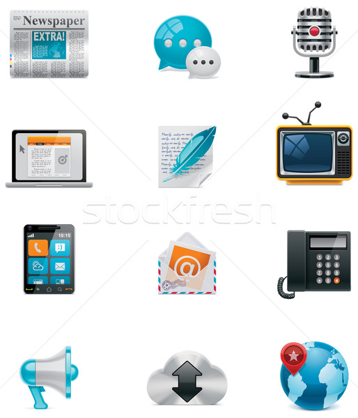 Vector communication and social media icon set. Part 1 Stock photo © tele52