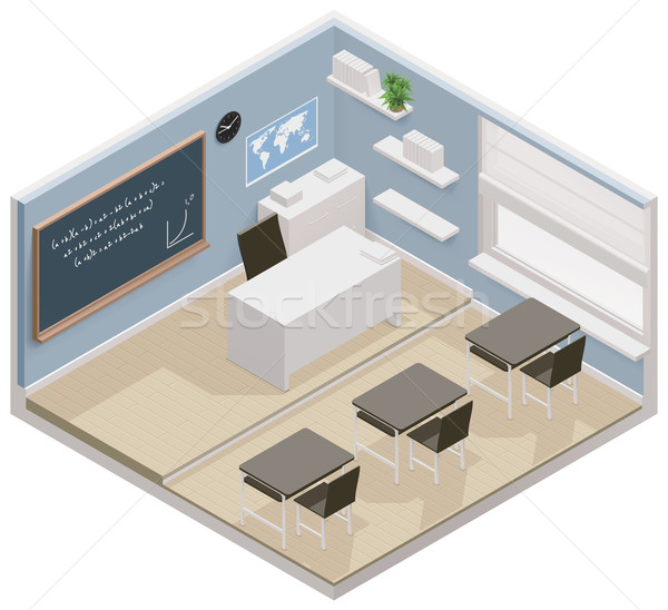 Vector isometric classroom icon Stock photo © tele52