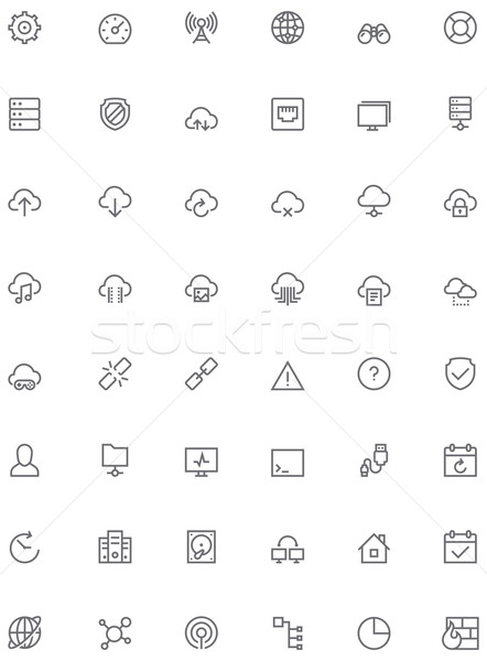 Network and cloud services icon set Stock photo © tele52