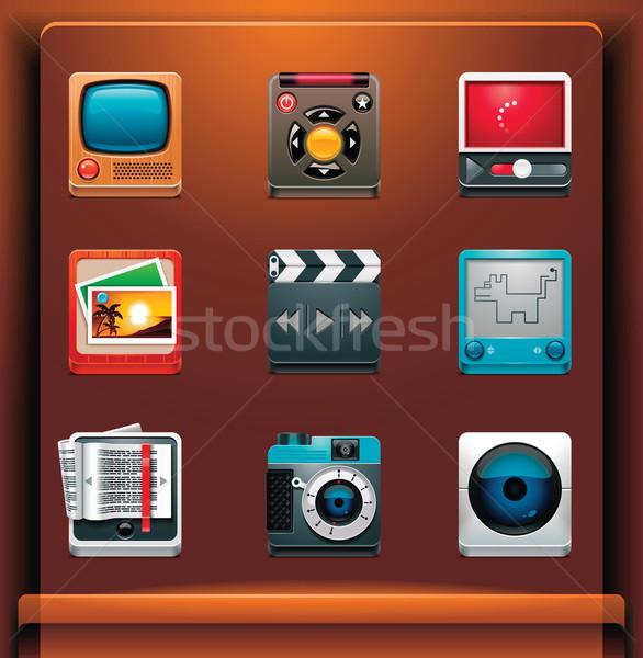Stock fotó: Multimédia · ikonok · mobil · eszközök · film · olvas