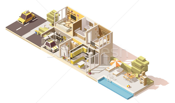 Vector isometric low poly house cross-section Stock photo © tele52
