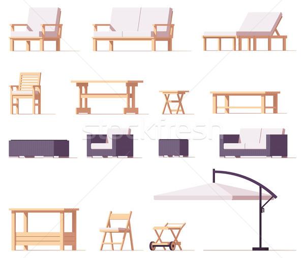 вектора патио Открытый мебель набор низкий Сток-фото © tele52