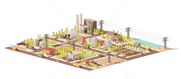 Vector low poly city waste management Stock photo © tele52
