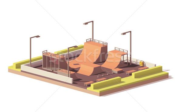 Vector low poly skate park Stock photo © tele52