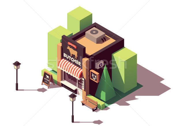 Vector isometric butcher shop Stock photo © tele52