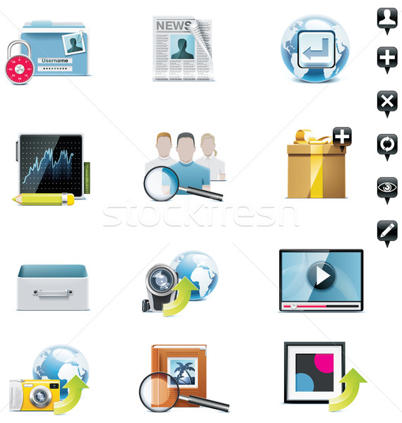 Vector social media icon set. Part 3 Stock photo © tele52