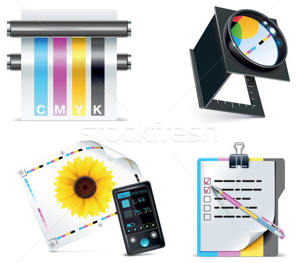 Vector print shop icon set. Part 5 Stock photo © tele52