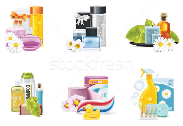 Stock photo: Vector health and beauty supplies icons