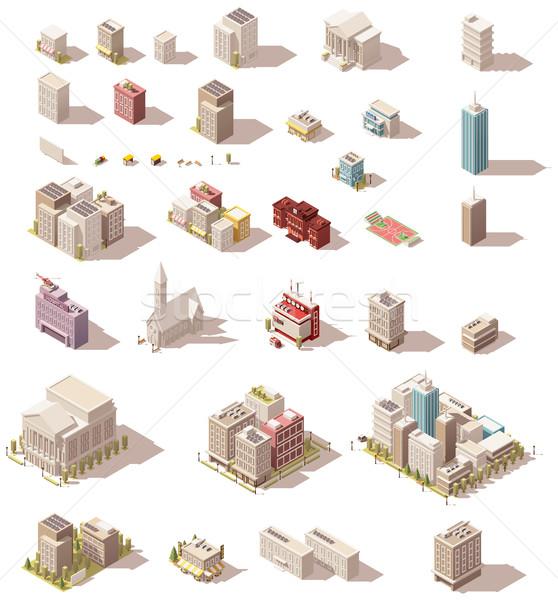 Vector isometric low poly buildings set Stock photo © tele52