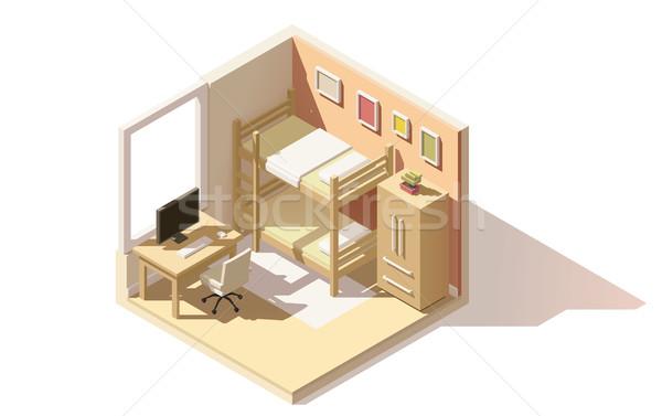 Vector isometric low poly children room icon Stock photo © tele52