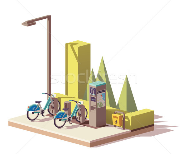 Vector low poly bicycle sharing system Stock photo © tele52