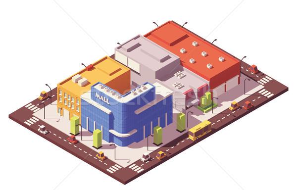 Stockfoto: Vector · laag · isometrische · stad · gebouwen · huizen