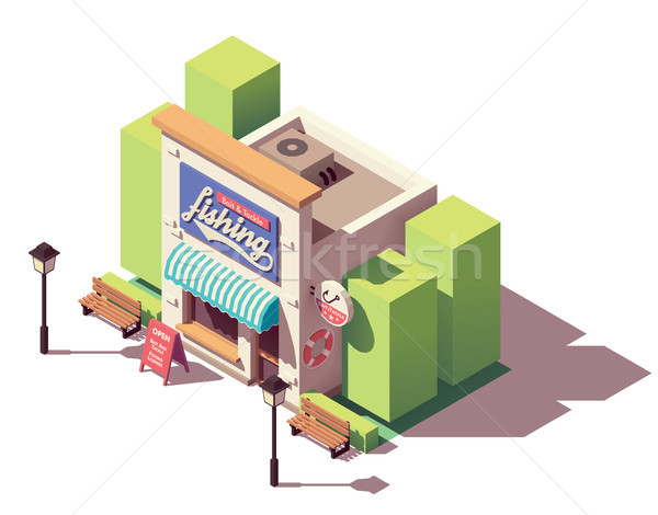 Vector isometric fishing gear and tackle shop Stock photo © tele52