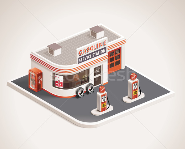 Vector roadside gas station XXL icon Stock photo © tele52