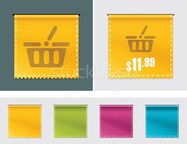 Photo stock: Vecteur · prix · tag · ruban · détaillée · quatre