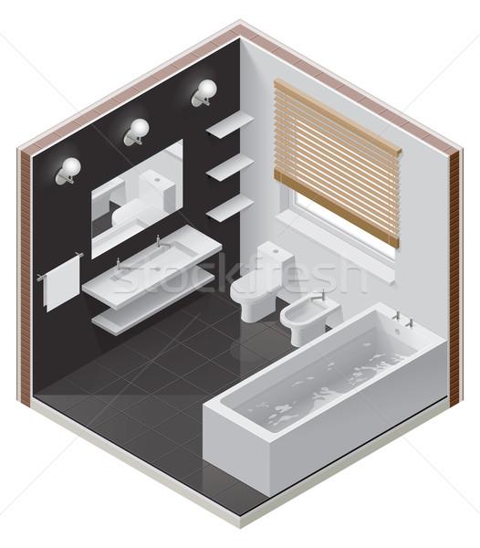 Vector bano icono moderna agua casa for Casa moderna vector