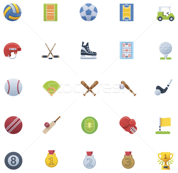 Stock fotó: Sport · ikon · gyűjtemény · szett · golf · doboz · zászló