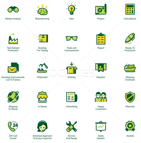 Manufacturing and distribution icon set Stock photo © tele52