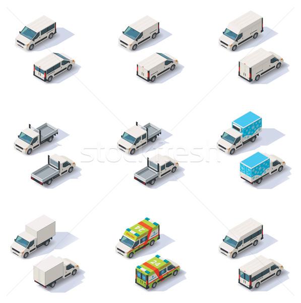Vector isometric vans set Stock photo © tele52