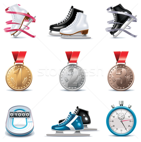 Vector ice skating icon set Stock photo © tele52