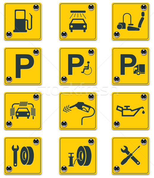 Stock photo: Set of the roadside services related icons