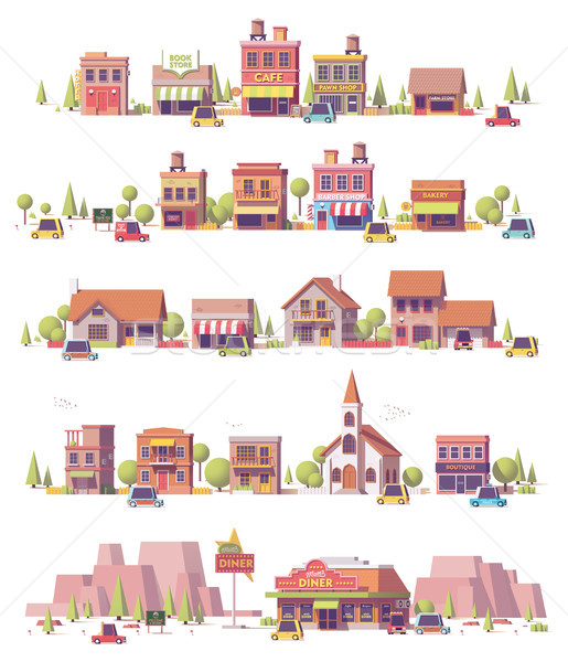 Vector low poly 2d small town scenes Stock photo © tele52