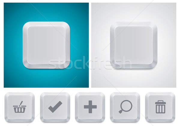 Vector computer keyboard button square icon Stock photo © tele52