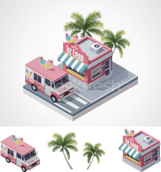 Vector isometric ice cream store and truck Stock photo © tele52