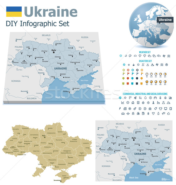 Stock photo: Ukraine maps with markers