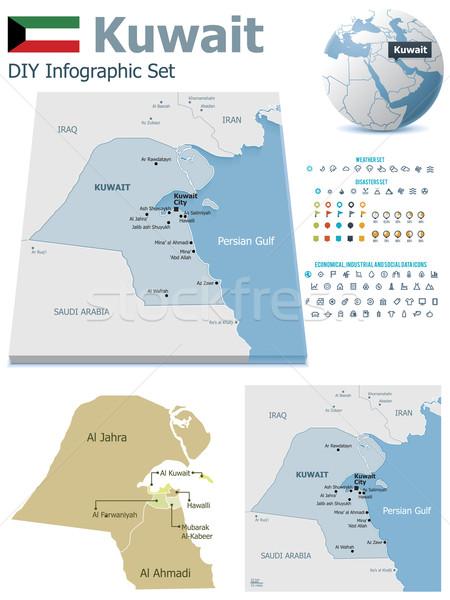 Stock fotó: Kuvait · térképek · szett · politikai · szimbólumok · infografika