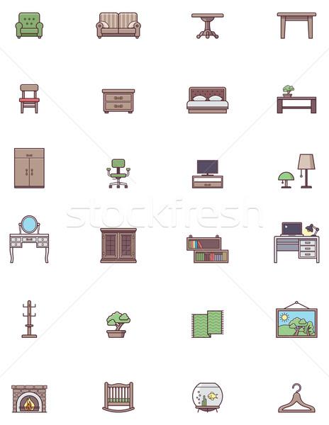 Házi bútor ikon gyűjtemény szett asztal belső Stock fotó © tele52
