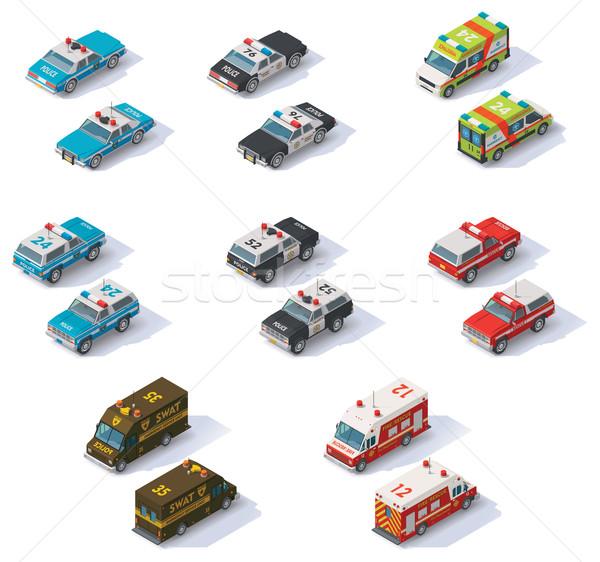 ベクトル アイソメトリック 救急隊 車 セット フロント ストックフォト © tele52