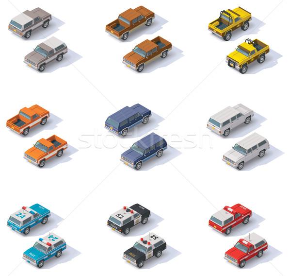 Vector isometric SUVs set Stock photo © tele52